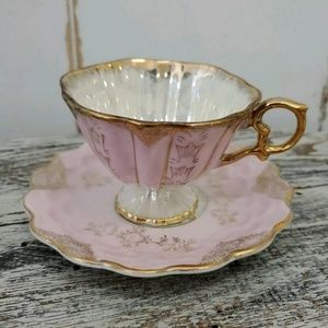 Sterling China Japan Tea Cup/Saucer Pink White